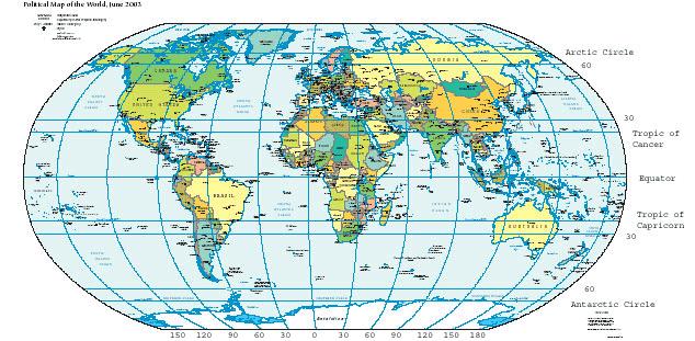 Mapa com representação das linhas imaginárias dos paralelos e meridianos.