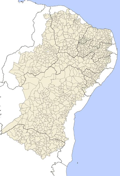 Região com incidência do Clima Semiárido no Brasil.