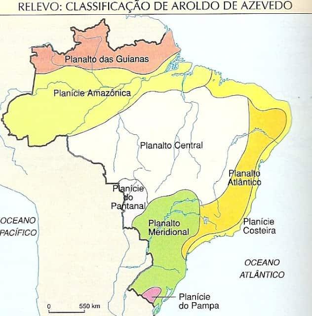 Classificação do Relevo Brasileiro por Aroldo de Azevedo em 1949.