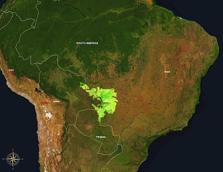 Extensão e localização do pantanal.