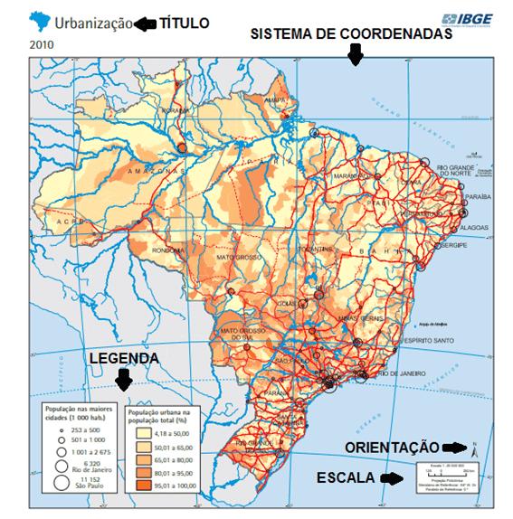 Esquema de elementos a partir do mapa de urbanização feito pelo IBGE (2010).