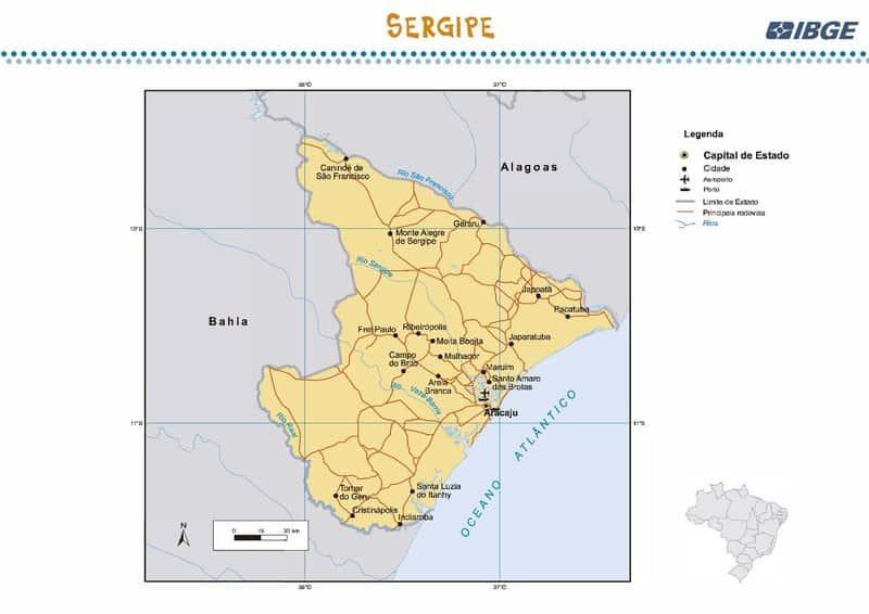 Linhas utilizadas no mapa para representar feições lineares em um mapa do estado de Sergipe. Neste caso, são representadas rodovias, fronteiras do Estado e a rede hidrográfica do território através das linhas.