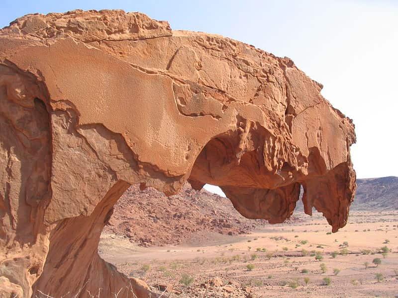 Arenito, exemplo de rocha sedimentar.