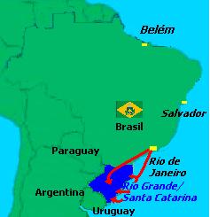 Mapa da região onde ocorreu a Revolução Farroupilha.
