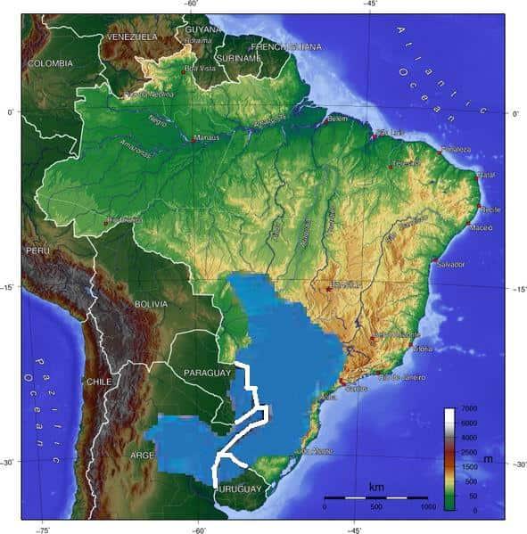 Aquífero Guarani, segundo maior aquífero do mundo.