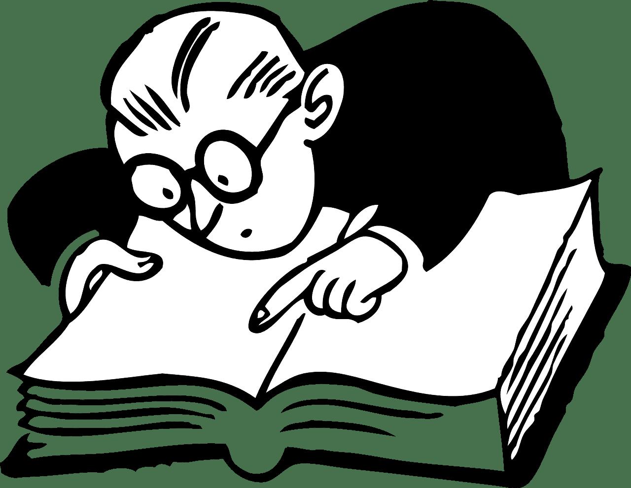 Imagem ilustrativa de um homem procurando palavras em um livro.