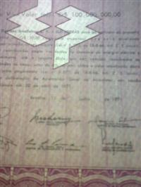 DEBENTURES ELETROBRAS AO PORTADOR