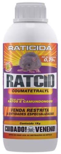 Ratcid Pó Contato 1 Kg - raticida cobre grandes áreas