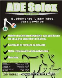 ADE SELEX - SUPLEMENTO VITAMÍNICO AD3E, SELÊNIO E B12 -BOVINOS, OVINOS ,CAPRINOS
