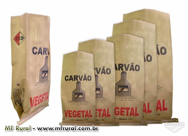 Embalagem ou saco de carvão padronizado, alça e acendedor para churrasqueiras
