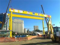 P�rtico em funcionamento, para carga de 150tn, v�o de 50m e 30m de altura