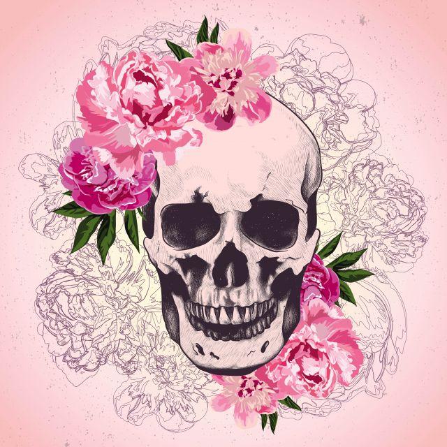 Poster Caveira florida e Rosa