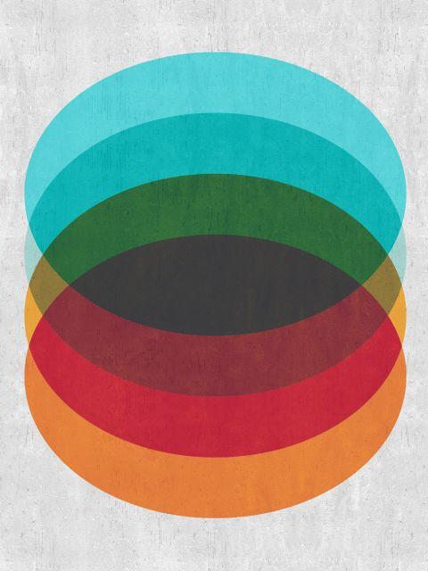 Poster Geométrico azul e vermelho