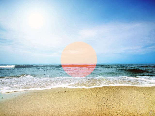 Poster Praia com circulo rosa
