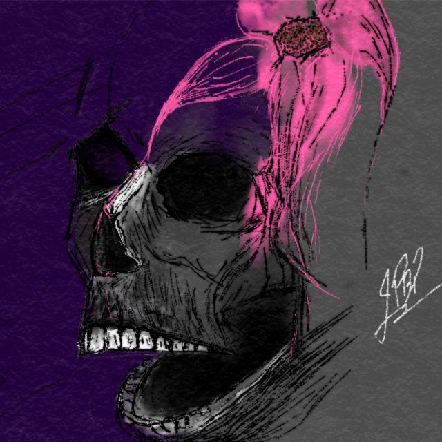 Poster Skull rose flower   caveira