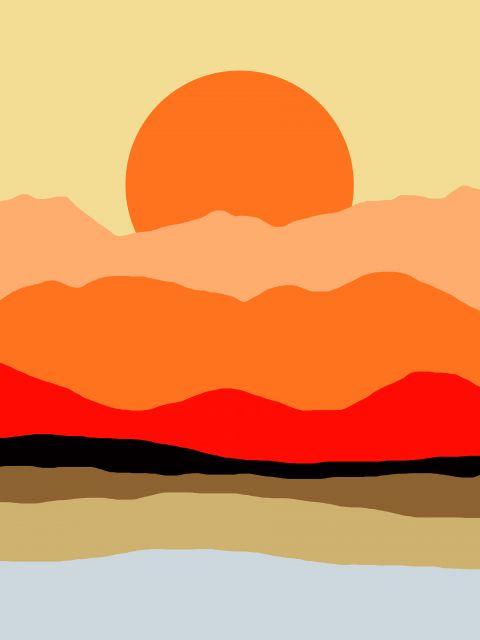Poster Paisagem minimalista laranja