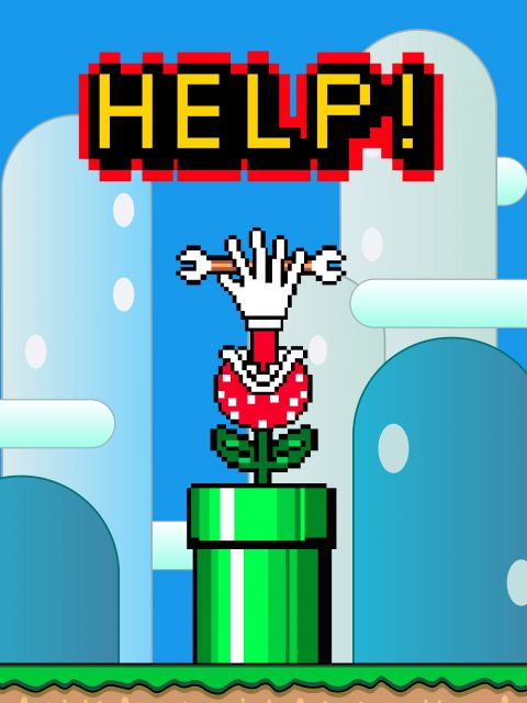 Poster Super Mario HELP  jogos Mario bros