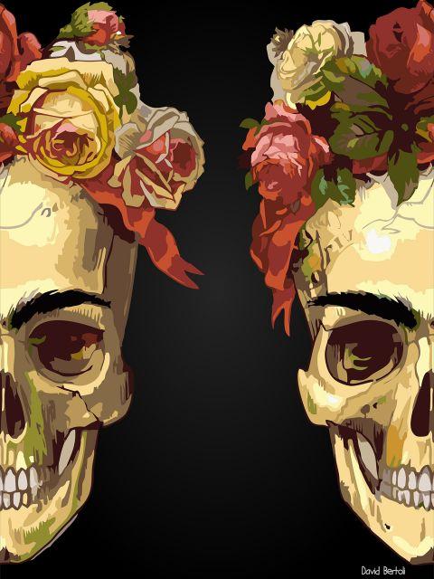Poster Frida Skull flower  Frida kahlo
