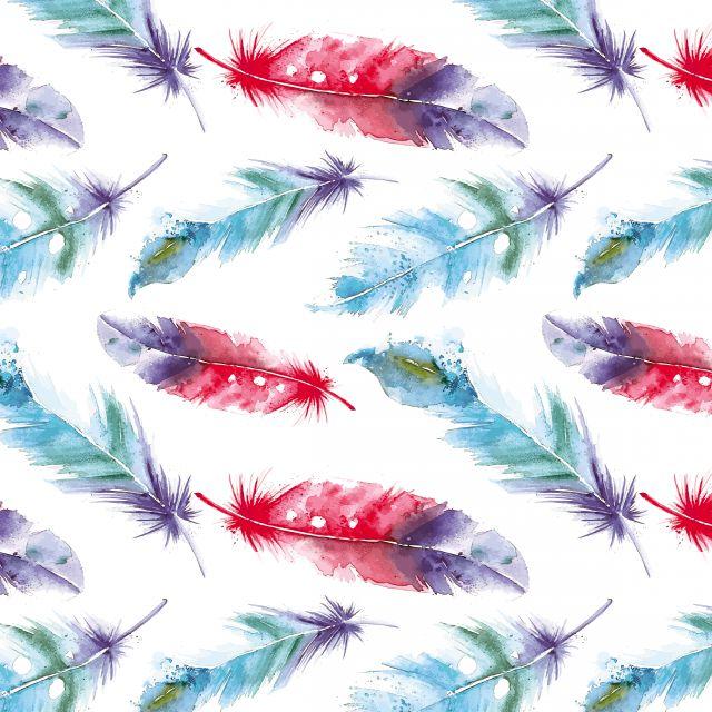 Poster Penas coloridas em aguarela