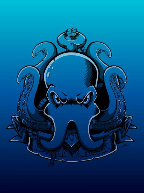 Poster Octopus Deep Blue   polvo