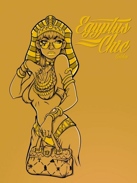Poster Egyptus Chic golden   egipcia mulher