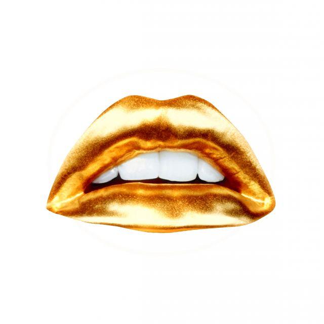 Poster Lábios Dourados I   boca gold
