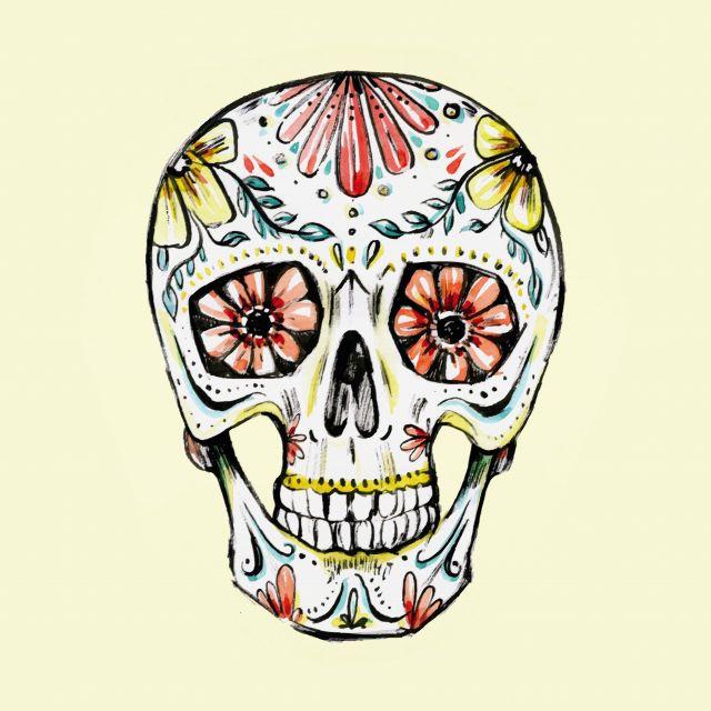 Poster Caveira Aquarela   skull