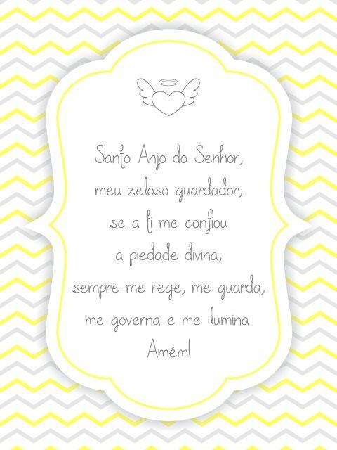 Poster Oração Santo Anjo - Amarelo