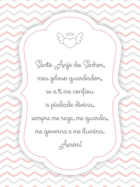 Poster Oração Santo Anjo - Rosa
