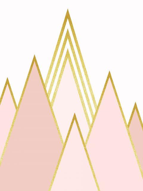 Poster Montanhas Douradas  rosa dourado
