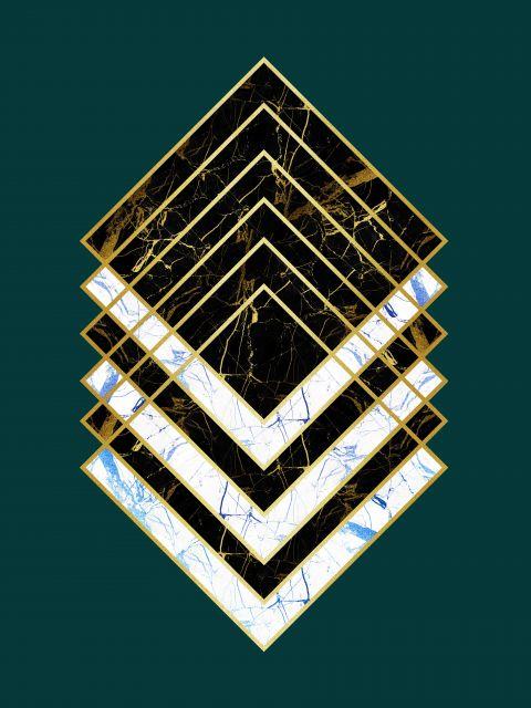 Poster Marmore Dourado I