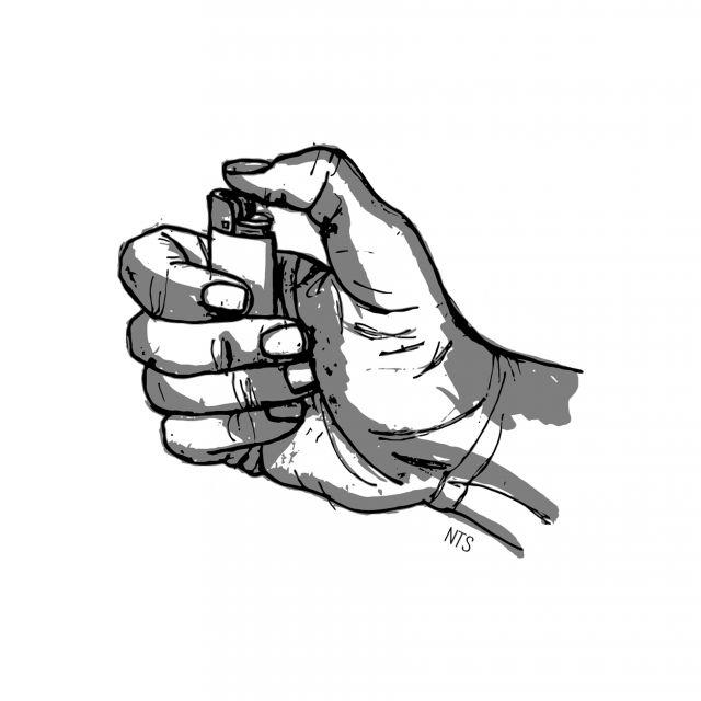 Poster Mão Cigarro - Isqueiro