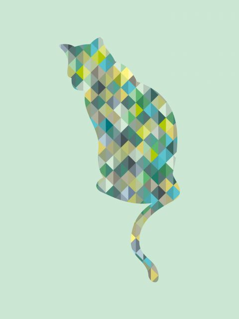 Poster Gato Geométrico   verde