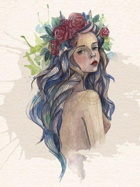 Poster Mulher bonita em aquarela