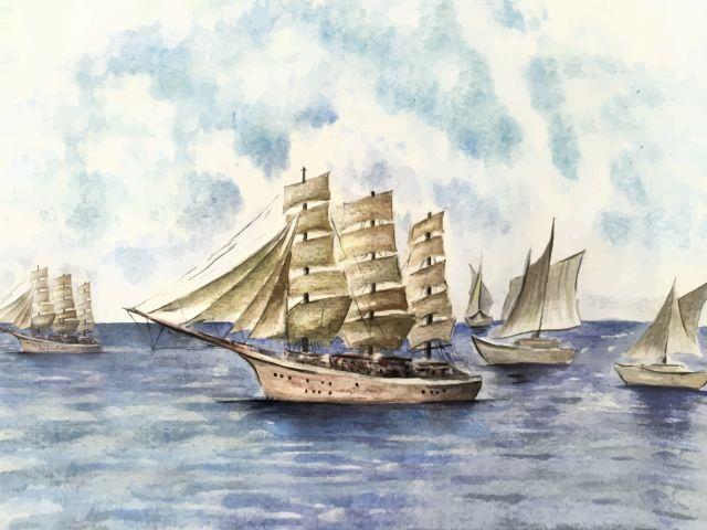 Poster Barcos em Aquarela   mar