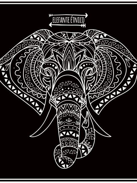 Poster Elefante étnico- fundo preto
