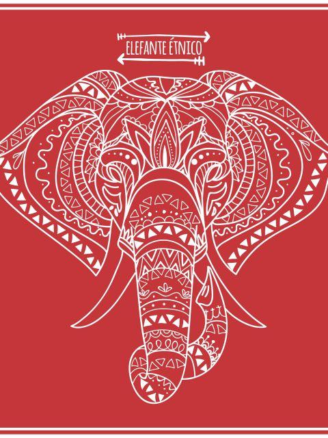 Poster Elefante étnico- fundo vermelho
