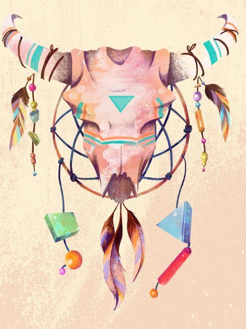 Poster Crânio étnico boho