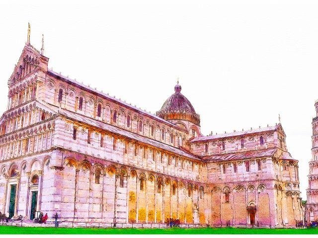 Poster Pisa no estilo traço de aquarela
