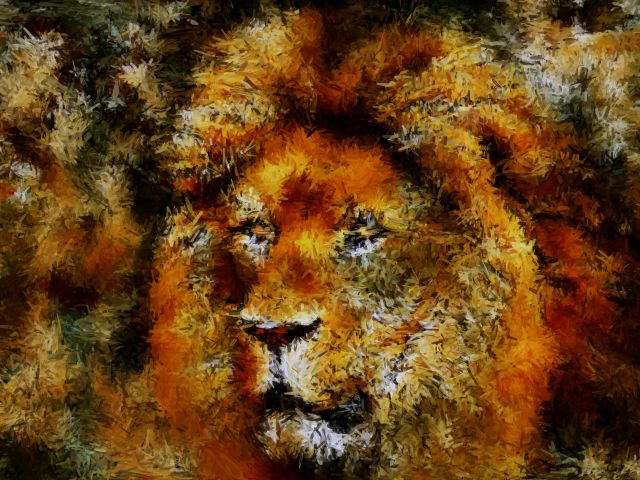 Poster Camouflaged lion