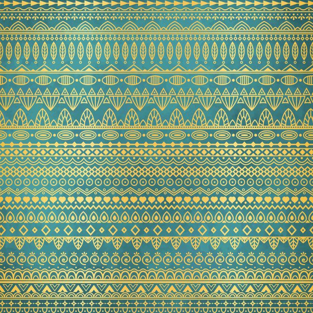 Poster Padrão étnico e dourado   verde