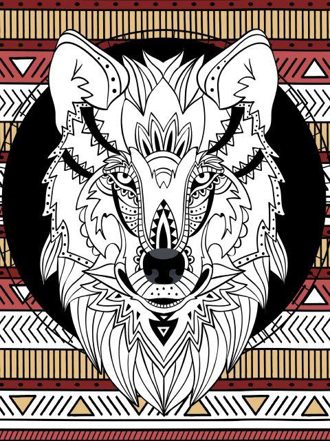 Poster Lobo étnico   wolf