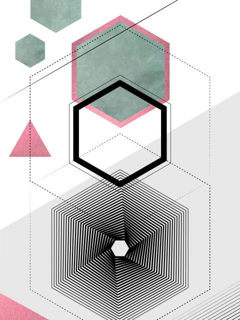 Poster Geométrico Cimento Queimado