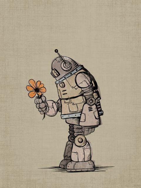Poster Robot Flower
