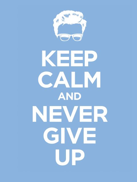 Poster Never Gonna Give You Up   azul keep calm