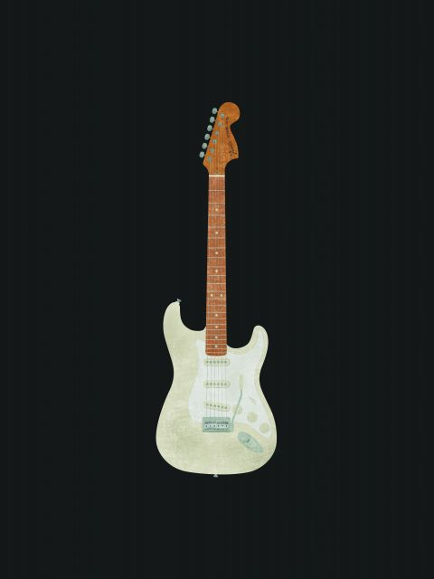 Poster Stratocaster Guitar II   preto guitarra