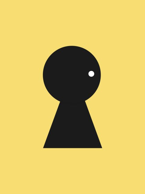 Poster Fechadura com carinha   amarelo