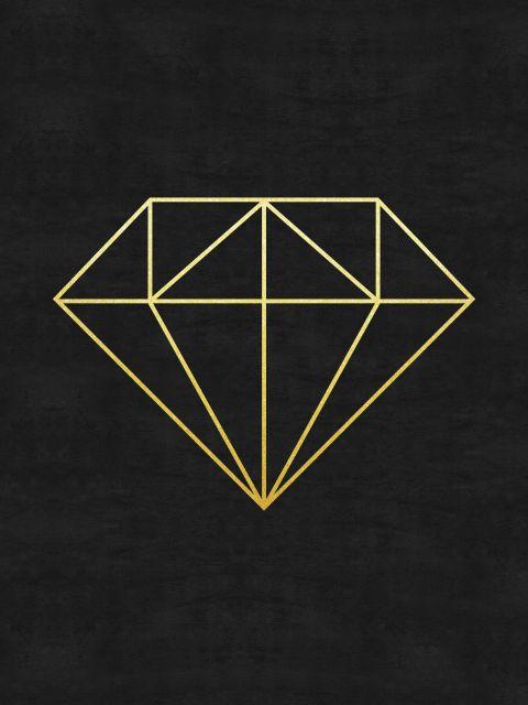 Poster Minimalista e dourado V   preto dourado diamante