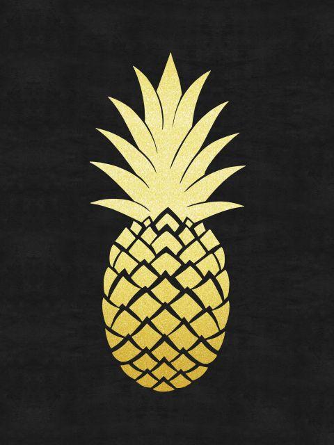 Poster Minimalista e dourado VI   abacaxi preto dourado