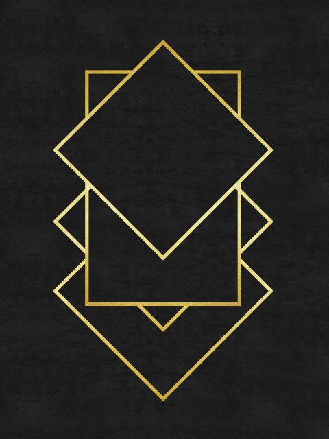 Poster Minimalista e dourado X   preto dourado